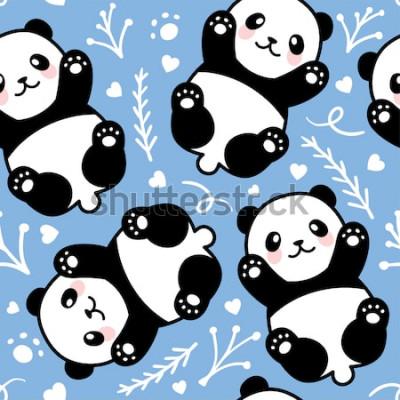 Obraz Cute Cartoon Panda bezszwowe tło wzór, ilustracji wektorowych