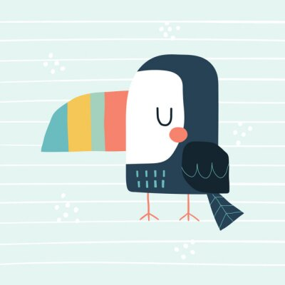 Obraz Cute cartoon toucan. Vector colorful illustration in a scandinavian style with simple background. Funny hand drawn poster.