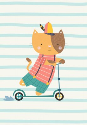 Obraz Cute cat on a scooter. Vector illustration in a scandinavian style. Cute and funny poster.