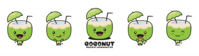 Obraz cute coconut mascot, natural drink cartoon illustration, with different facial expressions and poses