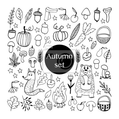 Cute doodle autumn set with acorns, leaves, mushrooms, baskets, cute animals, pumpkins and other gifts of fall. Hand drawn vector illustration for greeting cards, posters and seasonal design.