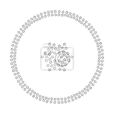 Cute doodle mandala with stars on background. Hand drawn vector illustration for coloring page and artbooks for adults and kids and design.