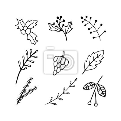 Cute doodle set of Holly, Rowan, leaves, branches, cone, fir tree icons. Hand drawn vector illustration. Winter elements  for greeting cards, posters, stickers and seasonal design.
