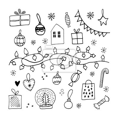 Cute doodle xmas set with garland, lights, toys, balls, lollipop, sweets, gift box and snowflakes. Hand drawn winter vector illustration for seasonal design.
