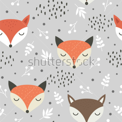 Obraz Cute fox seamless pattern, wolf hand drawn forest background with flowers and dots, vector illustration