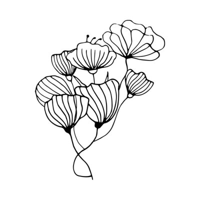 Cute hand drawn composition with flowers. Doodle vector illustration for wedding design, logo and greeting card.