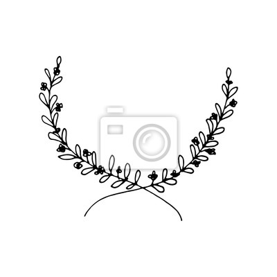 Cute hand drawn round frame with floral elements, herbs, leaves, flowers, twigs, branches. Doodle vector illustration for wedding design, logo and greeting card.
