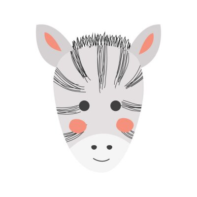 Obraz Cute hand drawn zebra in black and white style. Cartoon illustration in scandinavian style