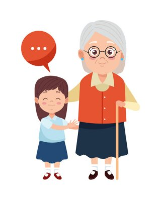Obraz cute happy grandmother with granddaughter characters