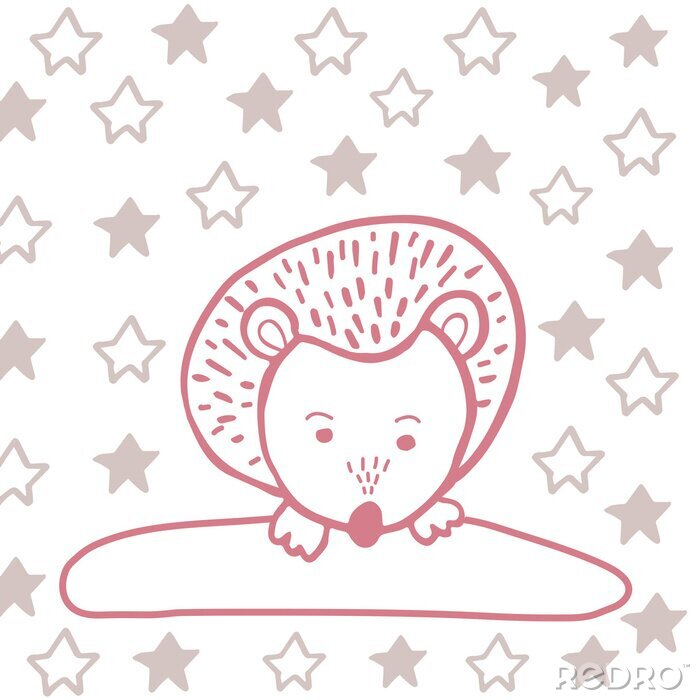 Obraz Cute Hedgehog trandy pattern with heart for decoration interior, print posters, greating card, bussines banner, wrapping in modern scandinavian style in vector. Pastel color.