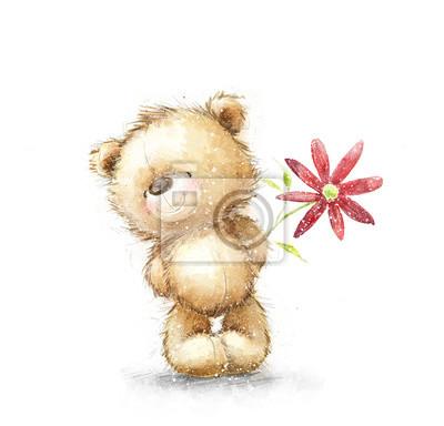 Obraz Cute misiu z czerwonym kwiatem. Tło z niedźwiedziem i kwiatów. Ręcznie rysowane misiu samodzielnie na białym background.Valentines kartkę z życzeniami. Miłość design.I cię kocham. Urodziny kartkę z ży