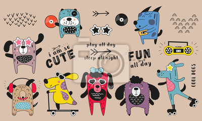 Cute pets - colorful cool funny dogs. Hand drawn. Doodle cartoon animals for nursery posters, cards, kids t-shirts. Vector illustration.