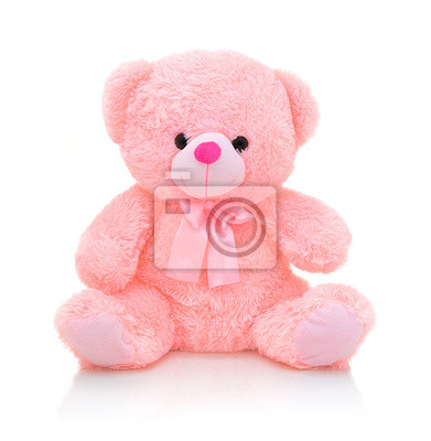 Obraz Cute pink bear doll with bow isolated on white background with shadow reflection. Playful bright pink bear sitting on white underlay. Teddy bear plush stuffed puppet with ribbon on white backdrop.
