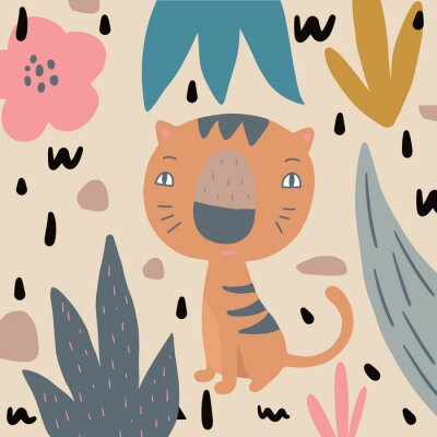 Cute print with hand drawn tiger