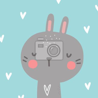 Cute rabbit baby poster. Baby Shower invite design