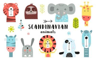 Obraz Cute scandinavian animals set. Hand drawn. Doodle cartoon animals for nursery posters, cards, kids t-shirts. Vector illustration. Tiger, lazy sloth, elephant, giraffe, zebra, hare, lion, bear, llama.