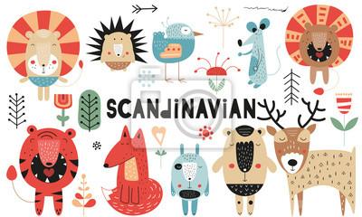 Cute scandinavian animals set. Hand drawn. Doodle cartoon characters for nursery posters, cards, kids t-shirts. Vector illustration. Bear, lion, tiger, hare, deer, hedgehog, mouse, fox, bird, flowers.