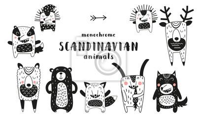 Cute scandinavian monochrome prints animals. Hand drawn. Doodle cartoon animals for nursery posters, cards, kids t-shirts. Vector illustration. Bear, hedgehog, llama, fox, hare, wolf, deer.