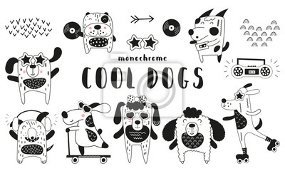 Cute scandinavian monochrome prints - cool funny dogs. Hand drawn. Doodle cartoon animals for nursery posters, cards, kids t-shirts. Vector illustration.