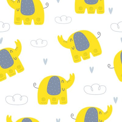 Cute seamless pattern for Baby Shower with elephant