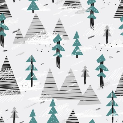 Obraz Cute seamless pattern with mountains and trees. Creative scandinavian woodland background. Vector illustration. Childish illustration.