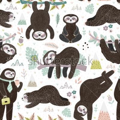 Obraz Cute sleeping sloths seamless pattern. Adorable animal background. Vector illustration