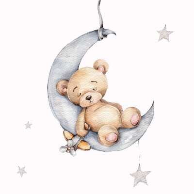 Obraz Cute sleeping teddy bear on the silver moon; watercolor hand draw illustration; with white isolated background