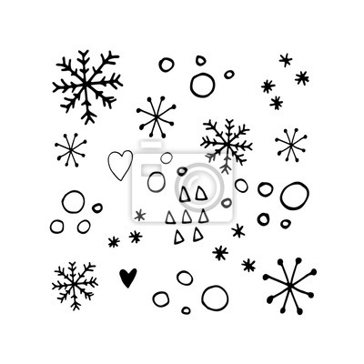Cute snowflakes set in modern scandinavian style in vector. Absctract nordic geometric design for winter decoration interior, print posters, greating card, bussines banner, wrapping.