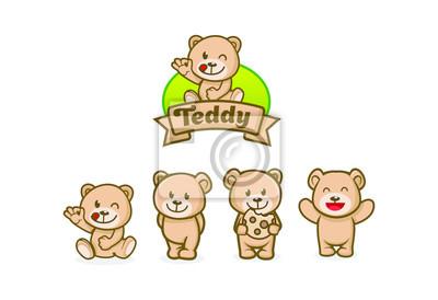 Obraz cute teddy bear character mascot designs