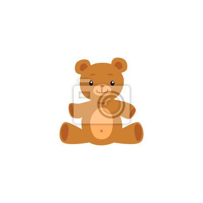 Obraz Cute teddy bear toy image or icon flat cartoon vector illustration isolated.