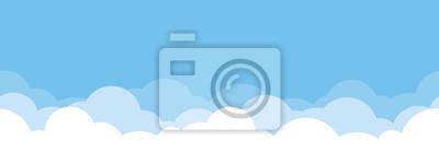 Obraz Cute white cloud on bright blue sky bottom border seamless pattern.