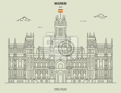Cybele Palace in Madrid, Spain. Landmark icon