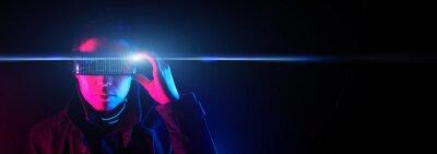Obraz Cyberpunk style portrait of man in futuristic costume.