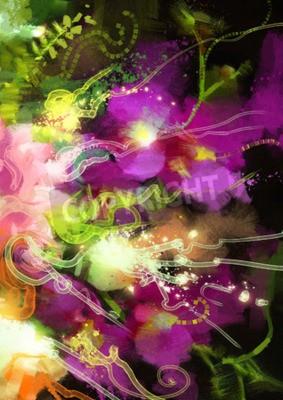 Obraz Cyfrowe malowanie abstrakcyjnych kwiatów orchidei