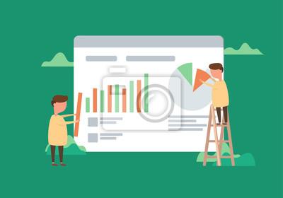 Cyfrowe narzędzia do analizy danych. Duże dane. Koncepcja udanego biznesu w płaskie wektor wzór.