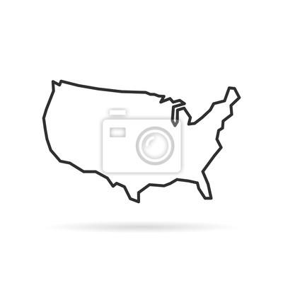 Obraz czarna cienka linia usa ikona z cienia