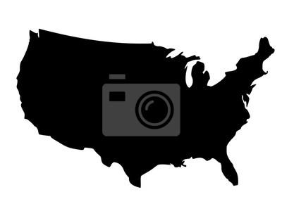 Obraz Czarna sylwetka mapa Stanów Zjednoczonych Ameryki