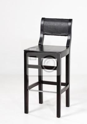 czarne drewniane, stołek barowy, na białym tle