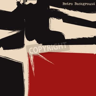 Obraz Czarne i czerwone kwadraty. Kubizm tła. ilustracji wektorowych