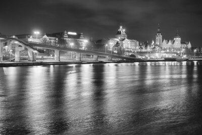 Czarno-bia? Y obraz Szczecina (Stettin) City skyline w nocy, Polska.