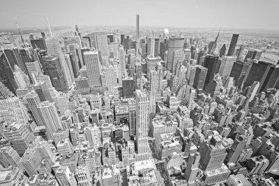 Obraz Czarno-białe kontrasty widok z lotu ptaka Manhattanie w Nowym Jorku.