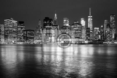 Obraz Czarno-białe panoramę Nowego Jorku w nocy, USA.