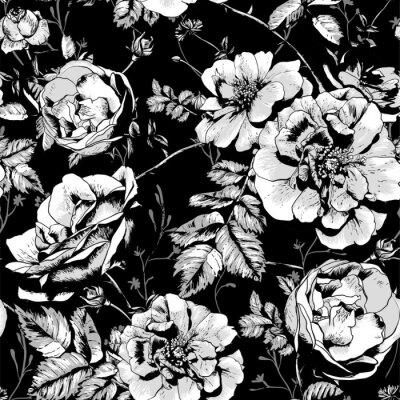 Obraz Czarno-białe tło bez szwu kwiatowy