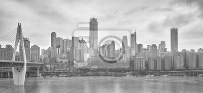 Czarno-białe zdjęcie miasta Chongqing w Chinach
