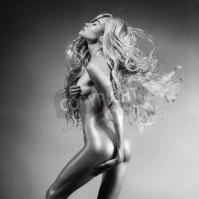 Obraz Czarno-białe zdjęcie sztuki mody seksualnego piękna blondynka