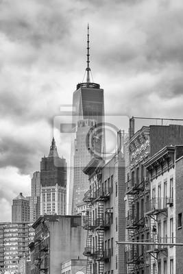 Obraz Czarno-biały obraz architektury Manhattanu, Nowy Jork, USA.