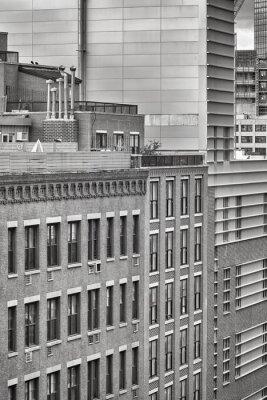 Czarno-biały obraz architektury Nowego Jorku, USA.