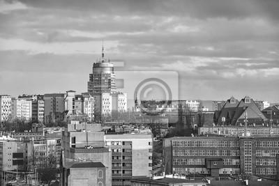 Czarno-biały obraz panoramę Szczecina, Polska.