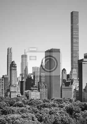 Czarno-biały obraz wieżowców w Nowym Jorku przez Central Park, USA.