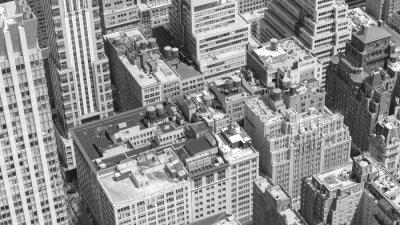 Obraz Czarno-biały obraz z lotu ptaka Manhattan, NYC.